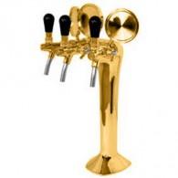 Výčapný stojan kovový - zlato - 3x kohút