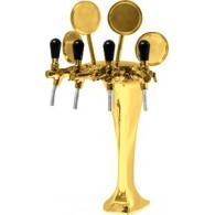 Výčapný stojan kovový - zlato - 4x kohút